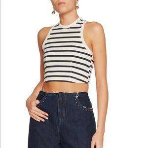 Cropped Stripes Cotton Crop Top